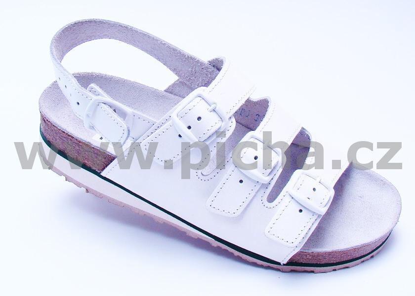 Pracovní obuv D1HK sandály třípáskové s klínkem dámské - bílé ... f02b8d6eb1